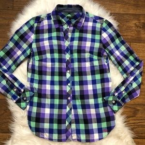 Talbots checked button down top purple green XS